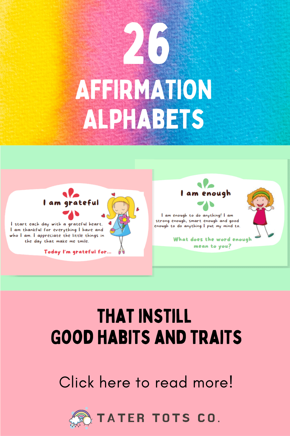 Here are 26 Affirmation Alphabets that instill good habits and traits in young kids! You can use affirmation cards in your child's daily activities and home-based activities. Each card has a daily journal prompt for discussion and self reflection. #affiirmationsforkids #flashcardsforkids #positiveparenting