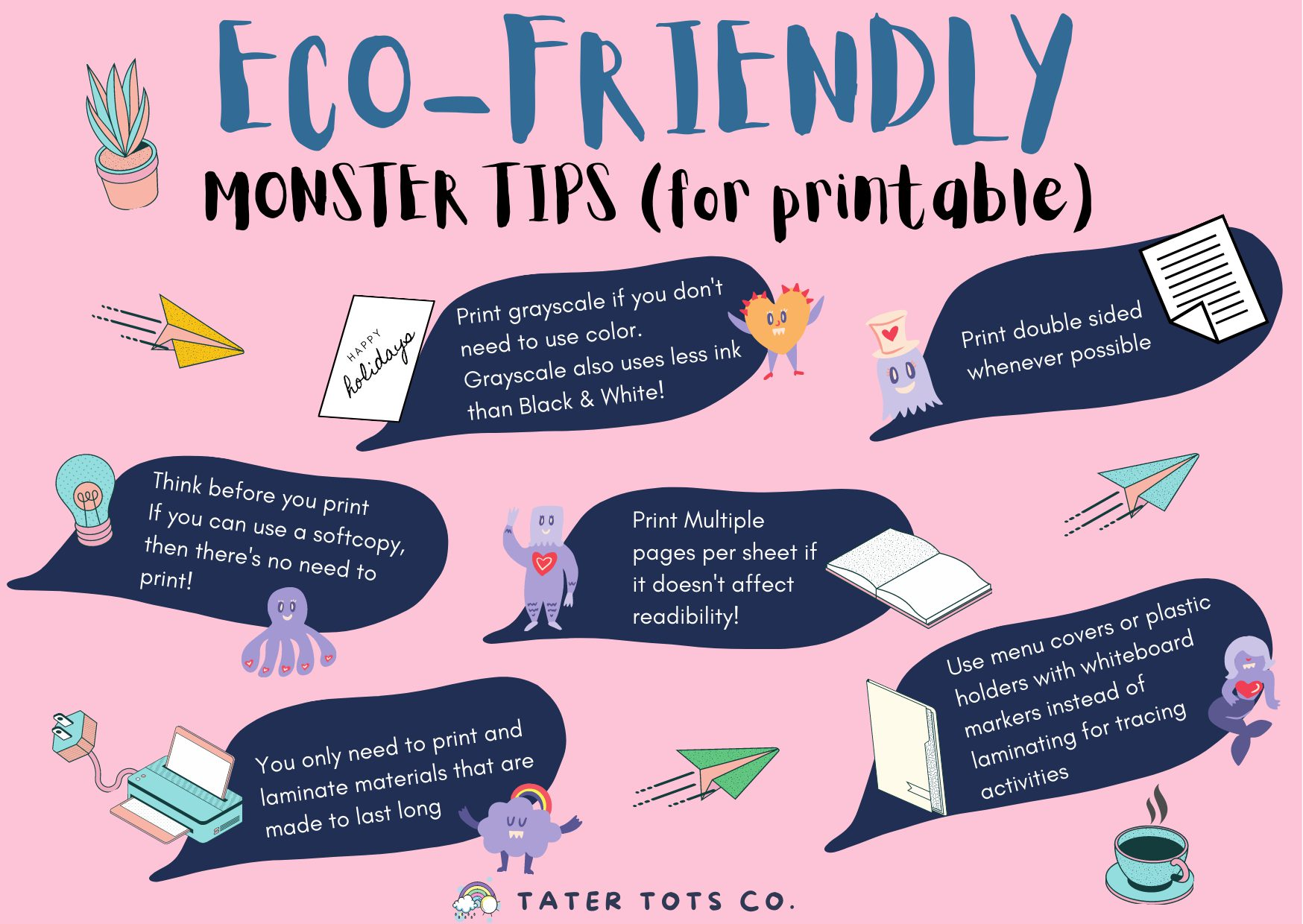 Before you hit the print button when printing learning materials, read the Eco Friendly Saving monster tips! Conserve printer ink, save money and paper while you enjoy using online resources.  #environmentallyfriendly #freeprintable